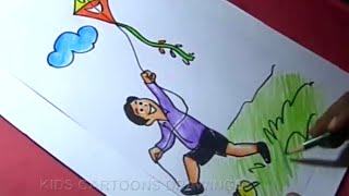 How to Draw BOY FLYING KITE Drawing for kids