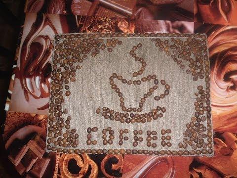 Картинка из кофе. Picture of coffee. Поделки из кофейных зерен.