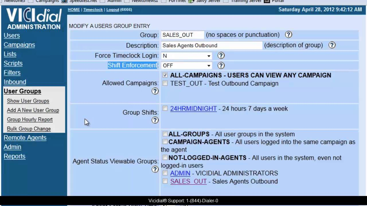 How to setup Vicidial User Groups
