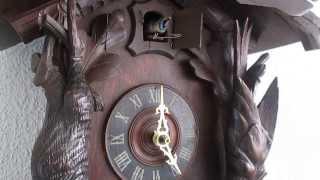 Antique Black Forest Hunter Cuckoo Clock Automaton Singing Bird