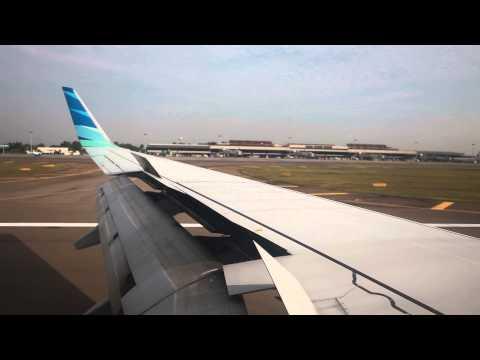Garuda Indonesia landing at Hang Nadim Airport in Batam