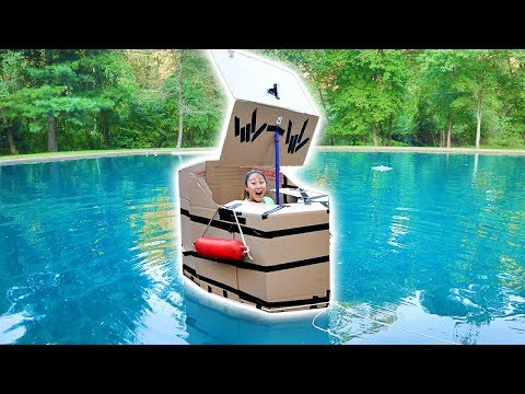 BOX FORT BOAT CHALLENGE!!