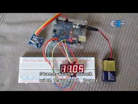 DS1307 Real Time Clock with Serial Output and 4-Digit 7-Segment Display