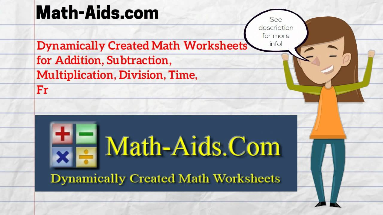 worksheet Math Aids Addition And Subtraction math aids com worksheets dynamically created youtube