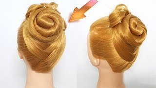 Easy traditional Hairstyles for Long Hair | Elegant red carpet bun hairstyle Idea | Hairstyle girl