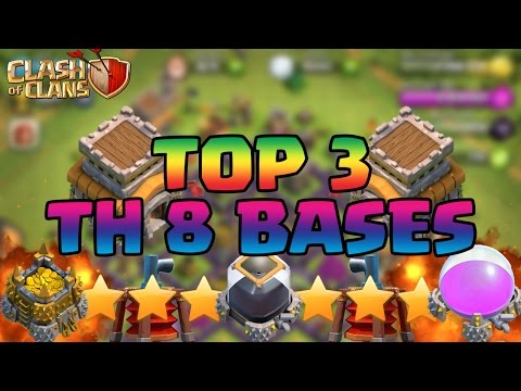 Clash Of Clans BEST Town Hall 8 TH8 Defense Strategy FARMING/WAR/TROPHY/HYBRID Base Design 2015