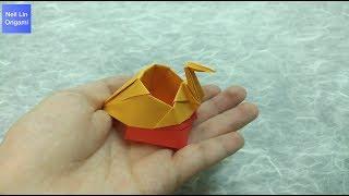 如何用紙製作一個漂亮的盒子 適合放置牙籤和棉花棒 - 紙鶴收納盒摺紙教學 手工折紙DIY
