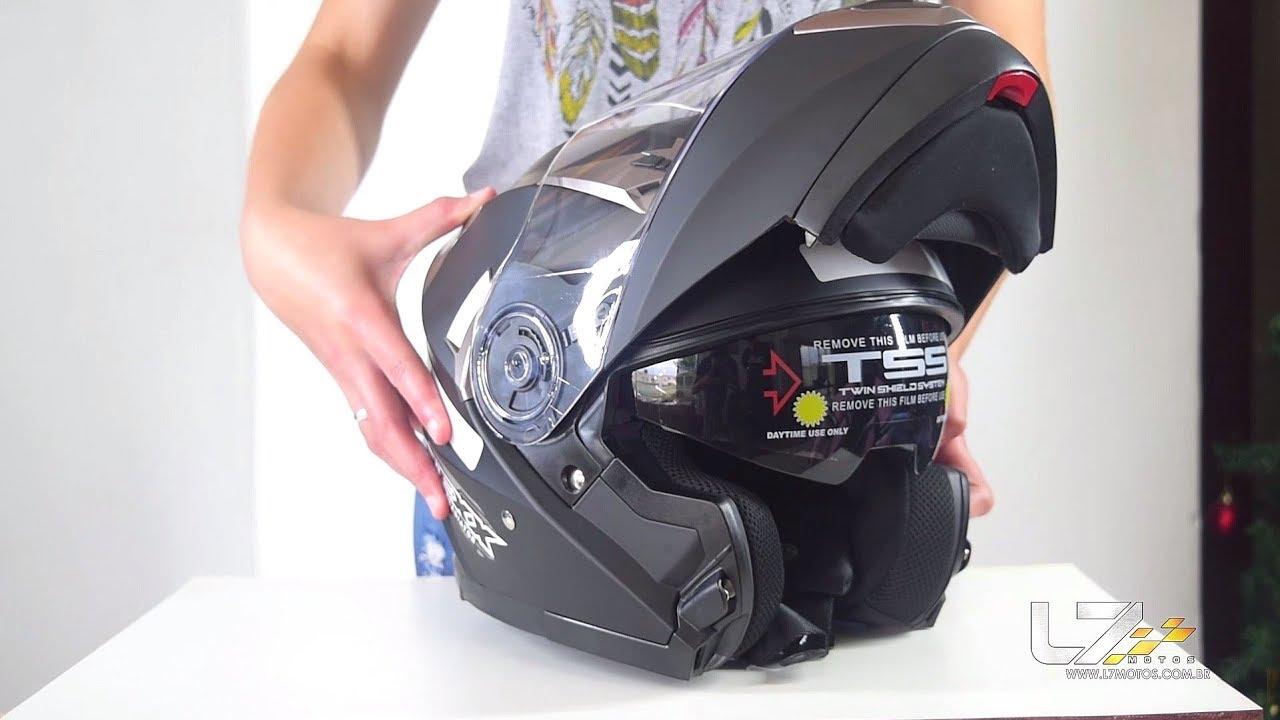 18c49308f Capacete Texx Gladiator Articulado Robocop Escamoteavel - L7 Motos