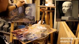 Этюд обрубовочной головы - Обучение живописи. Масло. Портрет, 15 серия