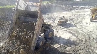 Dump Truck Stuck CAT D8R Pulling CAT 785 Heavy Recovery 05.12.2015