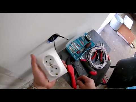 Установка хлипких, дешёвых розеток на силовой однопроволочный кабель типа ВВГНГ