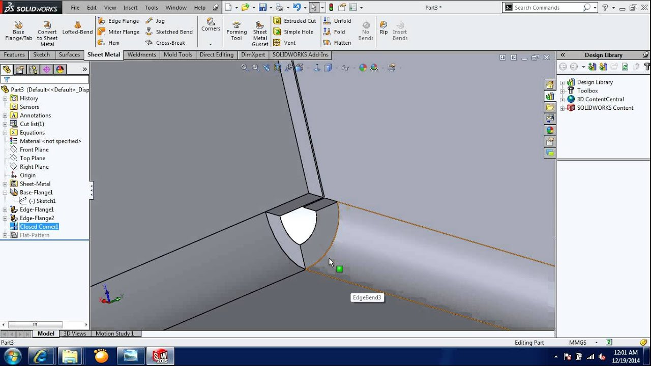 Solidworks 2015 Sheet Metal Corners Youtube