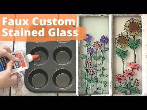 How to Fake Custom Stained Glass with Elmer's Glue | Hometalk