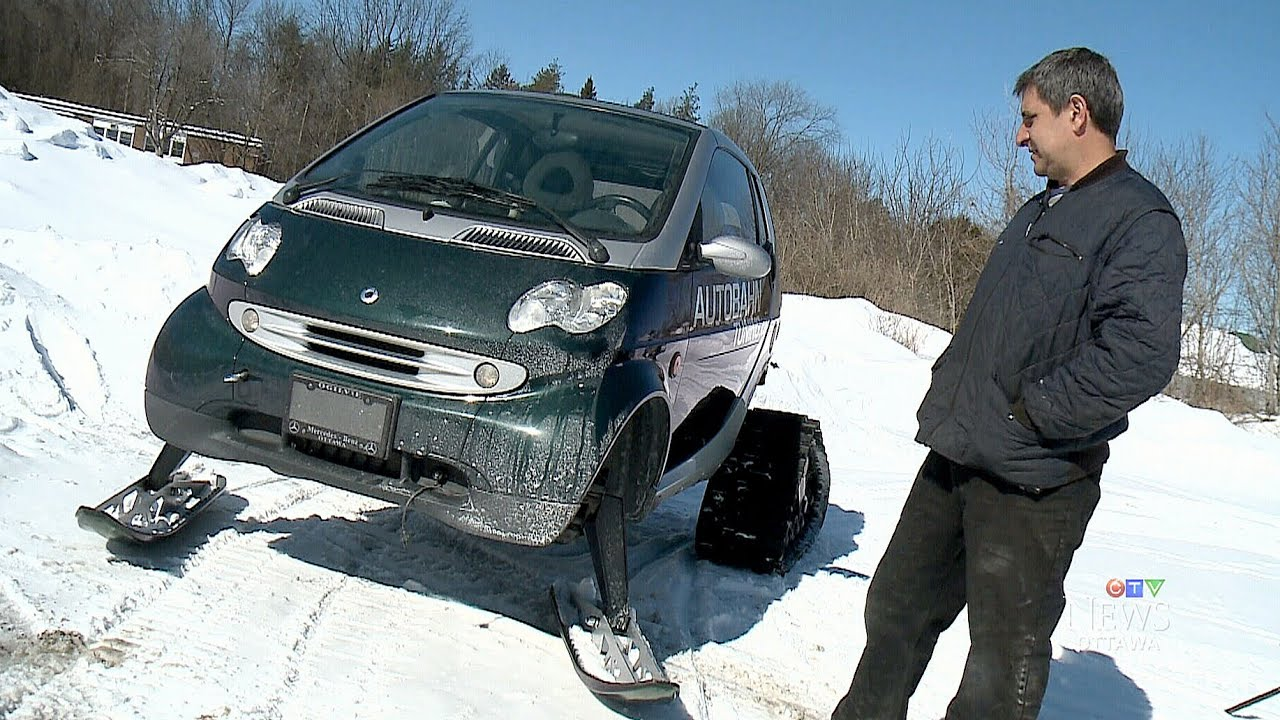 Most Canadian Car Company Shows Off Ski Rigged Smart Car Youtube