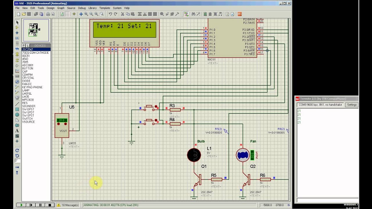 Temperature Control System Using Lm35 Precision Sensor And 80c51 Microcontroller  Lab