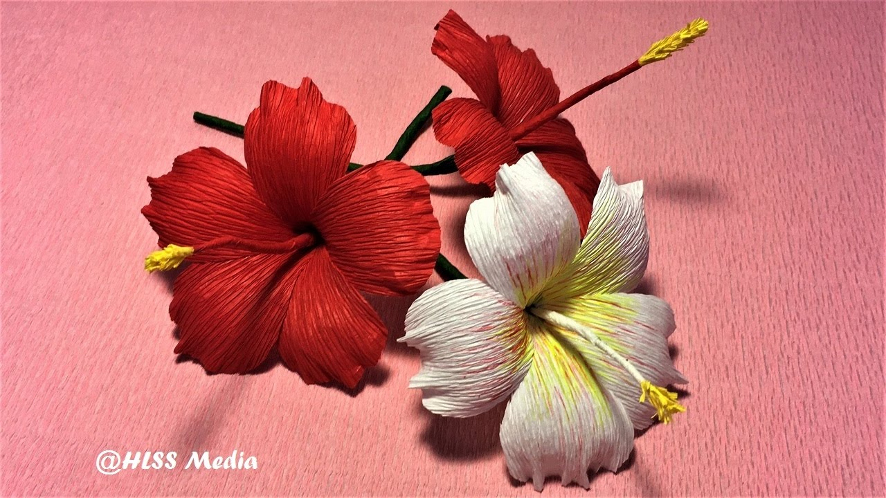 How to make beautiful origami hibiscus paper flower crepe paper how to make beautiful origami hibiscus paper flower crepe paper flower making craft paper tutorial izmirmasajfo