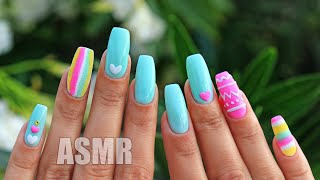 ASMR Nail Art Tutorial Design Whisper АСМР МАНИКЮР Летний дизайн ногтей Шепот и триггеры