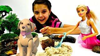 Видео для девочек - Барби выгуливает Таффи - Игры в куклы