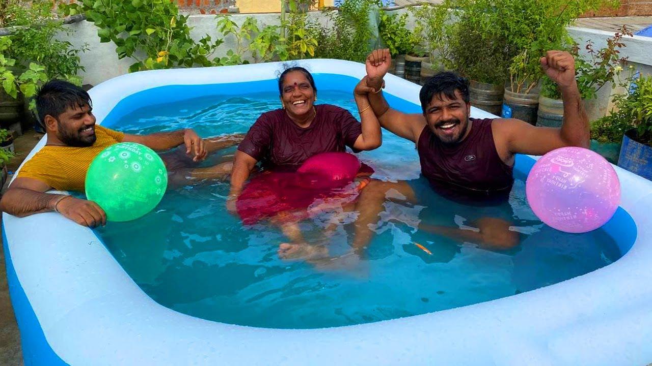 நம்ம வீட்டு மாடியில் New Swimming Pool 😍 வேற Level Fun Challenge || Amma Kai Pakkuvam