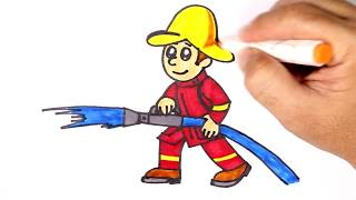 How to Draw a Fireman Learning Colors for kids