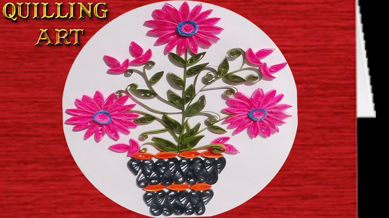 Quilling Flower How To Make Pink Colored Flower Plant Design Youtube