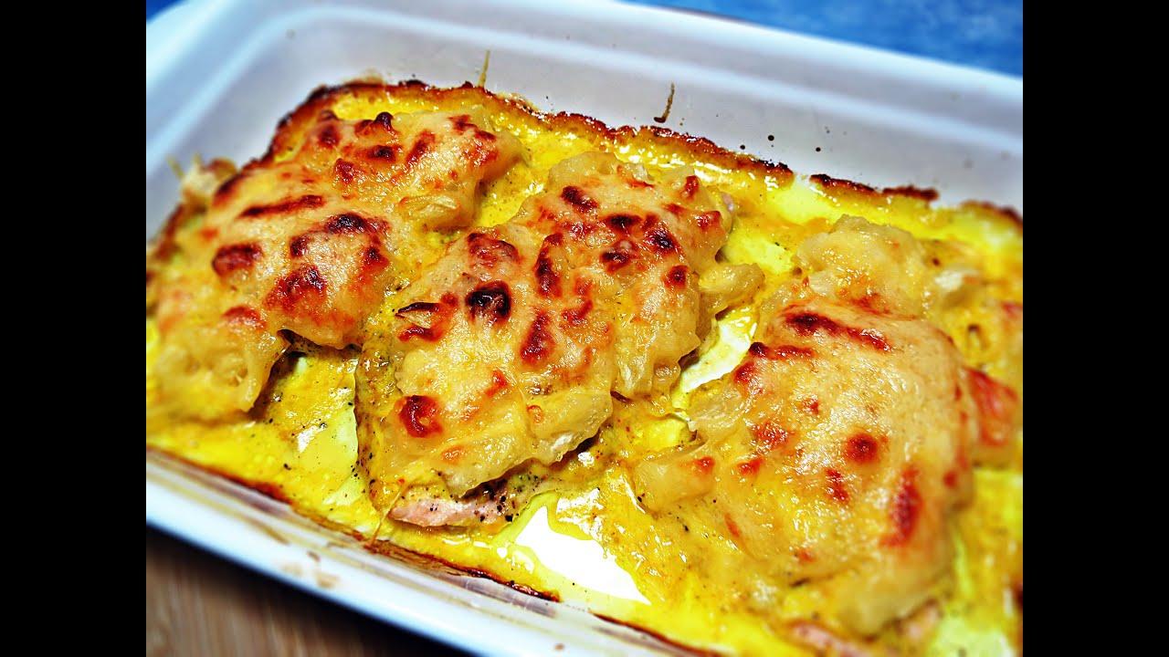 куриная грудка в кляре с сыром на сковороде