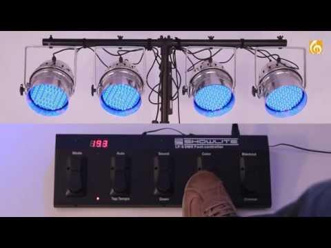 Showlite Lf-5 Dmx Controller Footcontroller Mit Led Scheinwerfer Showlite Par-64 10 Mm