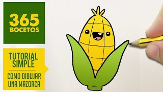 COMO DIBUJAR UN MAIZ KAWAII PASO A PASO - Dibujos kawaii faciles - How to draw a corn