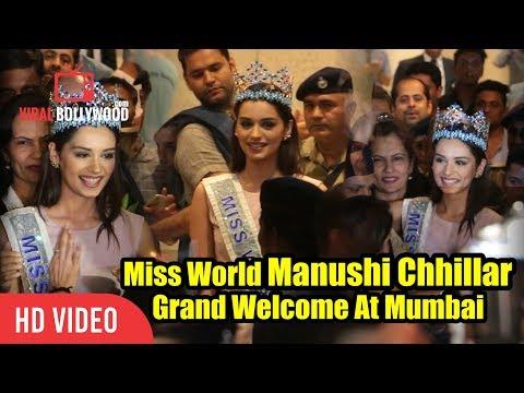Miss World 2017 Manushi Chhillar Grand Welcome At Mumbai International Airport | Manushi In Mumbai