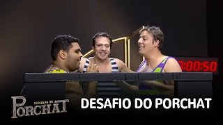 """Fábio Porchat, Paulo Vieira e Cambota ficam sem ar no """"Desafio do Porchat"""""""
