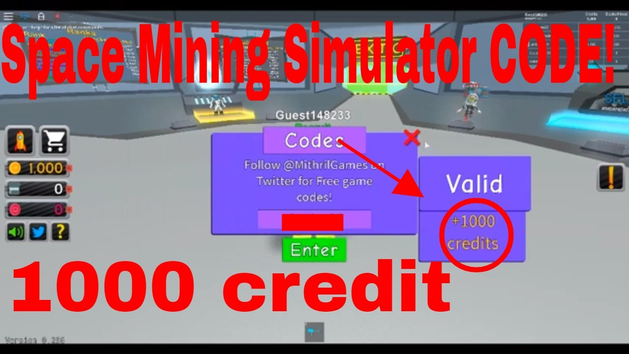 Space Mining Simulator Code Roblox 1000 Free Cridet Youtube