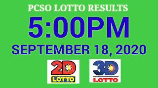 PCSO Lotto Result Today 5pm September 18, 2020 2d,3d,ez2,swertres
