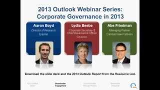 Outlook Webinar Series (Part 2) - Corporate Governance in 2013