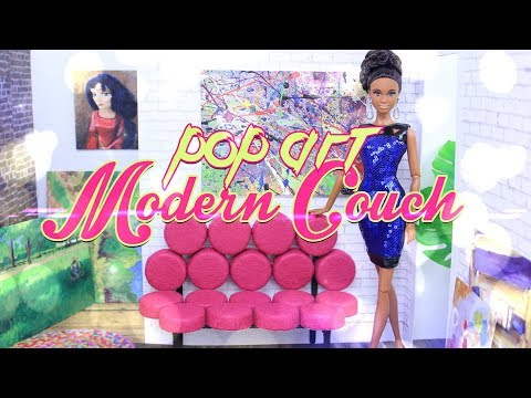 DIY - How to Make: Doll POP ART Modern Couch   DOLL FURNITURE CRAFT