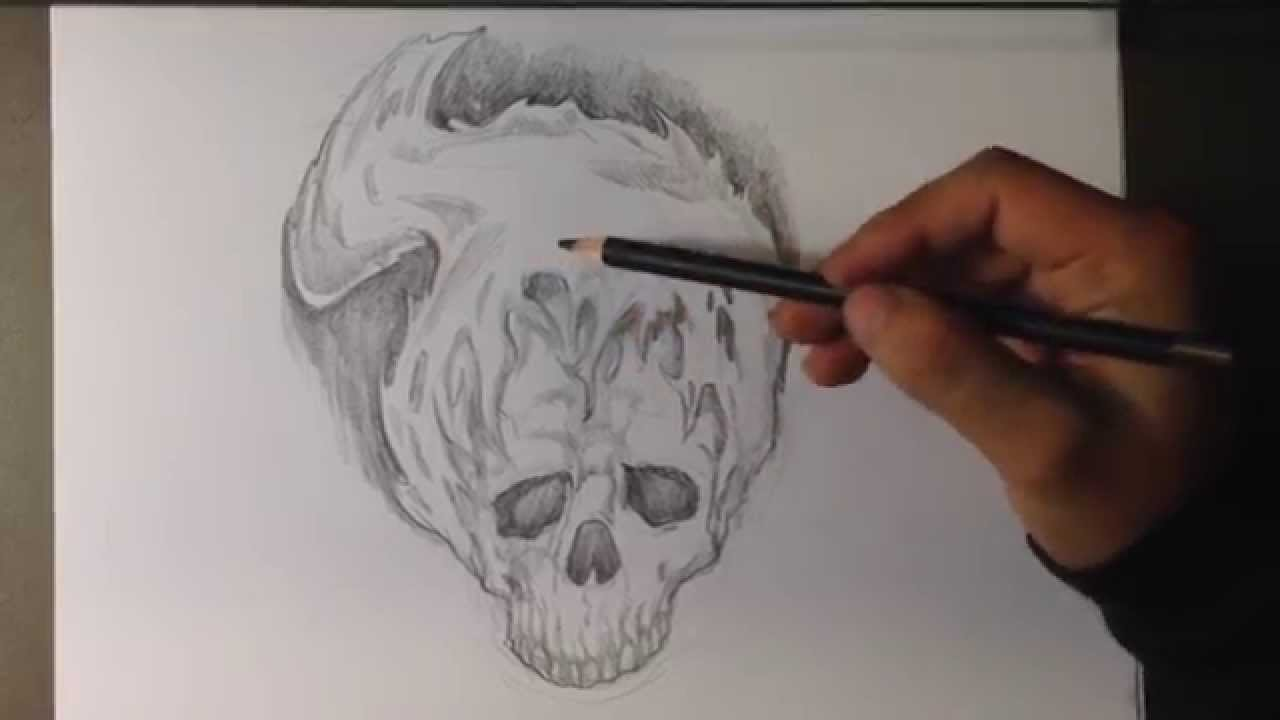 How to Draw a Skull Fire Tattoo - Skull Drawings - YouTube