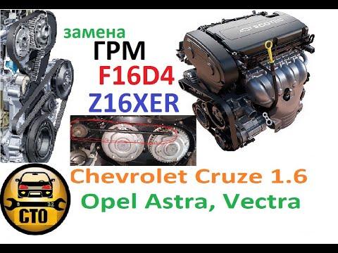 замена ремня грм и помпы Chevrolet Cruze 1.6 (F16D4), Opel Astra, Vectra (Z16XER)