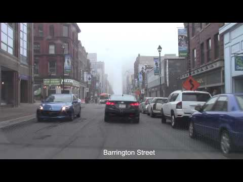 Driving in Foggy Downtown Halifax, Nova Scotia