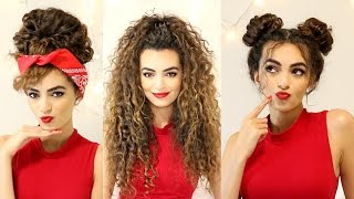 CURLY Hairstyles For A SEMI-BAD Hair Day!   ItsRimi