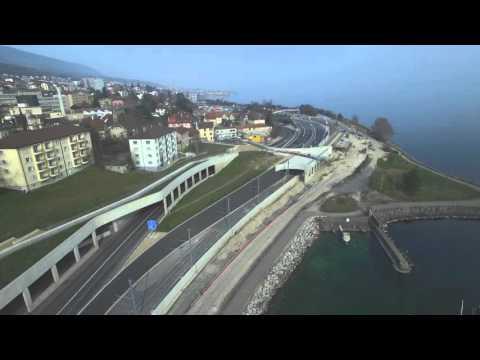 Vue aérienne de Serrières (Neuchâtel)