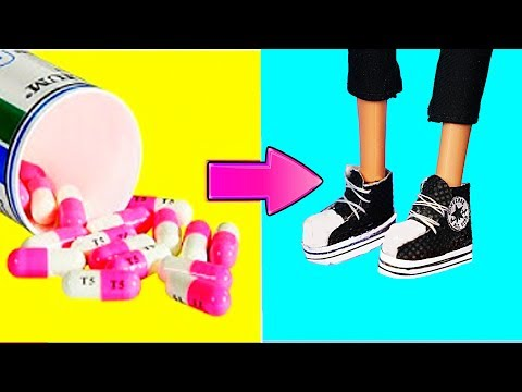 Woow! Sneakers for Barbie Doll? Making Easy Miniature Shoes for Barbie