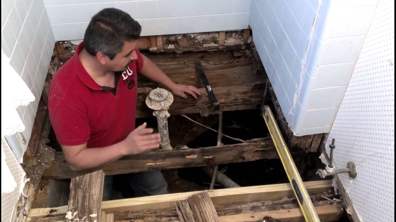 How To Repair A Bathroom Floor Structure YouTube - Bathroom leak repair cost