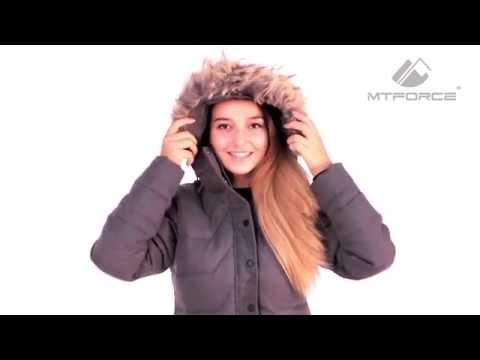 Куртка зимняя женская серого и коричневого цвета F01