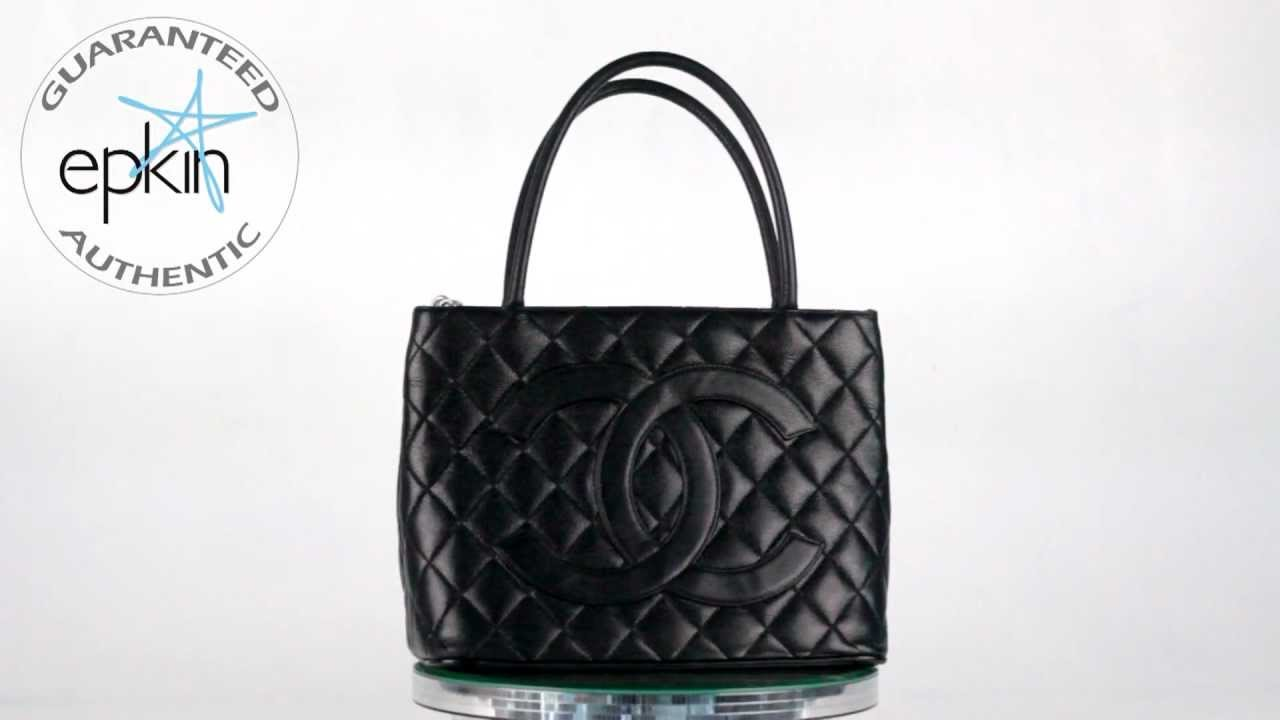 5f1c88c5a1db Chanel Medallion Quilted Caviar Leather Tote Handbag Bag Authentic Purse  Black