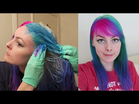 Dyeing My Hair Pink, Green, And Blue Using Special Effects!