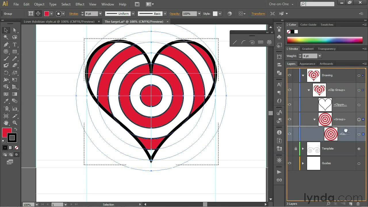 Single Weight Line Art Tutorial : Illustrator tutorial paste shapes inside of other lynda