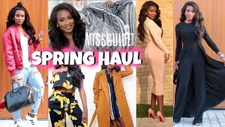 spring trends fashion haul try on   missguided asos zara aq aq prettylittlething