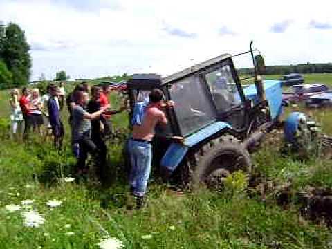 Гонки на тракторах ЮМЗ, К-700, МТЗ-80 - YouTube