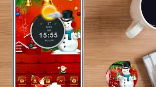 red lovely snowman theme merry Christmas wallpaper
