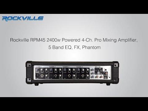 Rockville RPM45 2400w Powered 4 Channel Mixer, USB, 5 Band EQ, Effects, Phantom