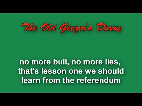Referendum Blog 1 - no more lies, no more bull . .